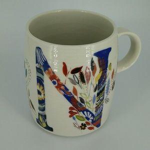 "Anthropologie ""N"" Mug Starla M. Halfmann Floral"